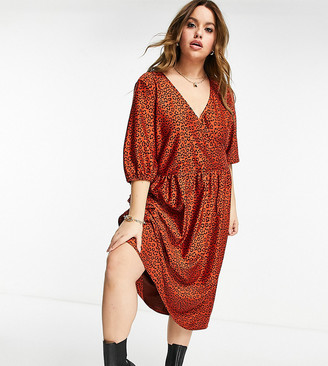 ASOS DESIGN Curve wrap front textured midi smock in black and red floral