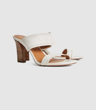 Reiss Freya - Leather High Heeled Mules in White