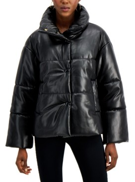 INC International Concepts Inc Faux-Leather Puffer Coat, Created for Macy's
