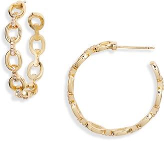 Sterling Forever Chain Hoop Earrings