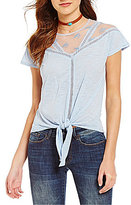Buffalo David Bitton Tied-Up Embroidered Mesh Top