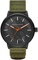 Armani Exchange AX1468 Men's Date Nylon Fabric Strap Watch, Khaki/Black