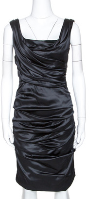 Dolce & Gabbana Black Stretch Silk Ruched Sleeveless Dress M