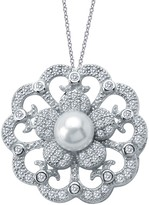 Lafonn Platinum Plated Sterling Silver Simulated Diamond & Shell Pearl Pendant Necklace