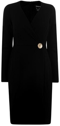 DKNY Occasion Long Sleeve Crepe Dress