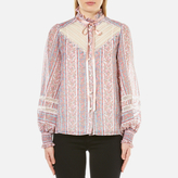 Marc Jacobs Women's Semi Embellished Button Down Blouse White/Multi