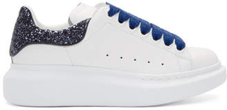 Alexander McQueen White and Navy Glitter Oversized Sneakers