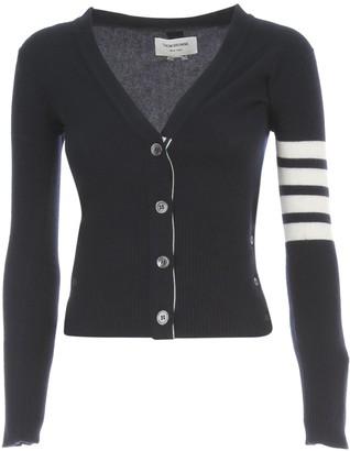 Thom Browne Classic V Neck Cardigan Cashmere W/white 4 Bar Sleeve Stripe