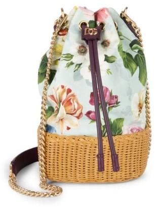 Dolce & Gabbana Floral Canvas & Raffia Bucket Bag