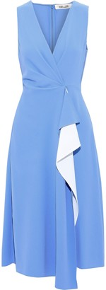 Diane von Furstenberg Addison Draped Two-tone Crepe Dress