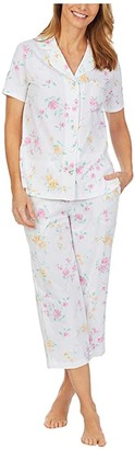 Carole Hochman Petite Soft Jersey Short Sleeve Capris Pajama Set (White Multi Floral) Women's Pajama Sets