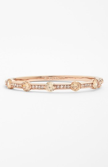 Givenchy Crystal Hinged Bangle Silk/ Rose Gold
