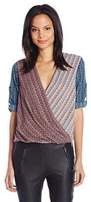 BCBGMAXAZRIA Women's Jaklyn Print Blocked Draped Front Blouse