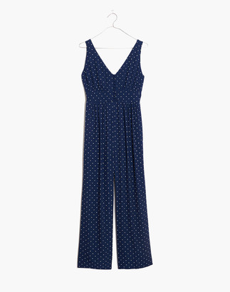 Madewell V-Back Wide-Leg Jumpsuit in Polka Dot
