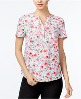 Kensie Windy Roses Short-Sleeve Top