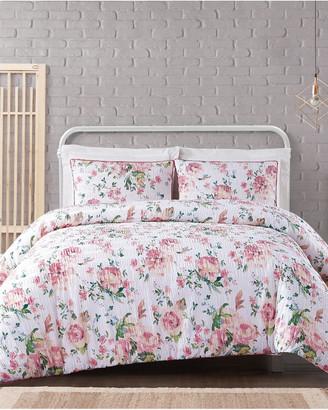 Cottage Classics Blooms Floral Seersucker Comforter Set