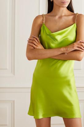 Olivia von Halle Minnie Chain-embellished Silk-satin Mini Dress - Lime green