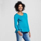 Expected by Lilac Maternity Solid Long Sleeve Peplum Top Teal