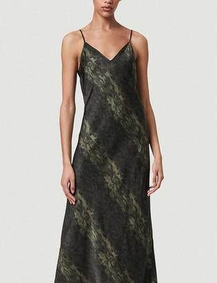 AllSaints Kayla 2-in-1 snakeskin-print crepe midi dress