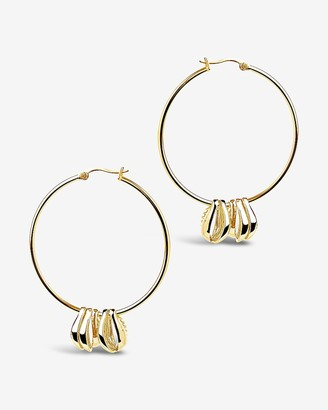 Express Sterling Forever Puka Shell Charm Hoop Earrings
