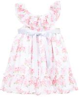 Laura Ashley Pink & White Floral Ruffle Dress - Girls