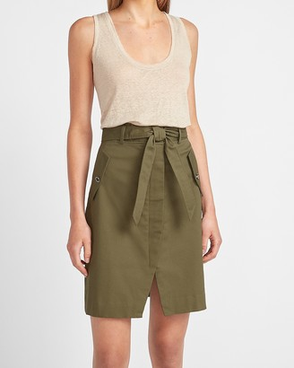 Express High Waisted Slit Front Utility Skirt