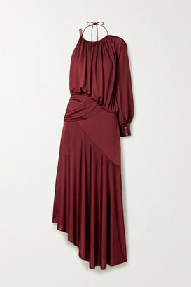 Sies Marjan Gia One-sleeve Faux Leather-trimmed Satin-jersey Gown - Claret