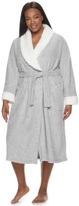 Croft & Barrow Plus Size Heather Rice Pile Plush Robe