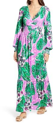 Lilly Pulitzer Mistral Magnolia Print Long Sleeve Maxi Dress