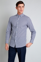Moss Bros Slim Fit Purple and Teal Check Button Down Casual Shirt
