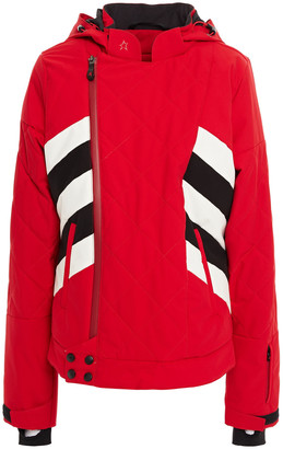 Perfect Moment Quilted Striped Shell Hooded Jacket