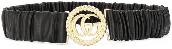 Gucci Ruched Leather Logo Belt
