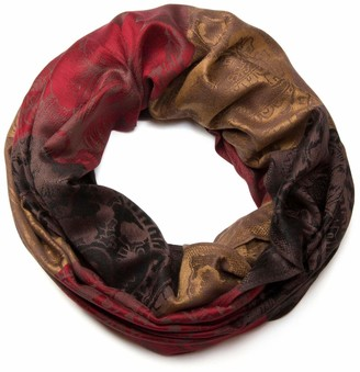 styleBREAKER flowers hibiscus blossoms paisley pattern tube scarf warm and soft quality shawl women 01018058