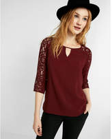 Express three-quarter sleeve lace keyhole blouse
