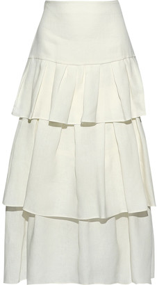 Theory Tiered Linen Midi Skirt