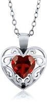 Gem Stone King 0.91 Ct Heart Shape Red Garnet Black Diamond 14K White Gold Pendant
