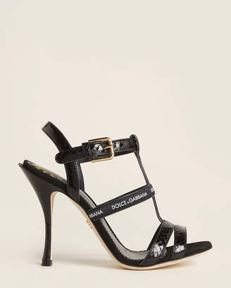 Dolce & Gabbana Black Keira Logo Leather Sandals
