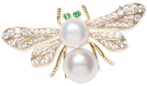 Macy's Cultured Freshwater Pearl (8 & 9mm) & Cubic Zirconia Bee Pin in Sterling Silver & 18k Gold-Plate over Silver