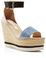 See by Chloe Glyn Denim Espadrille Wedge Ankle Strap Sandals