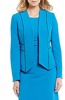 Kasper Contrast Trim Stretch Crepe Jacket