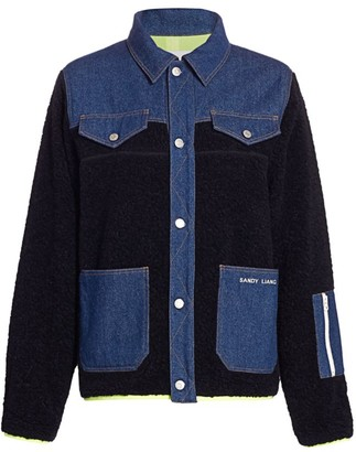 Sandy Liang Dorne Mixed-Media Fleece Denim Jacket