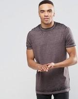 Asos Longline T-Shirt With Burnout Wash In Dusky Purple
