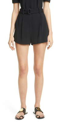 A.L.C. Bronson Belted High Waist Pleated Shorts