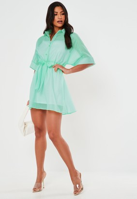 Missguided Mint Organza Skater Shirt Dress