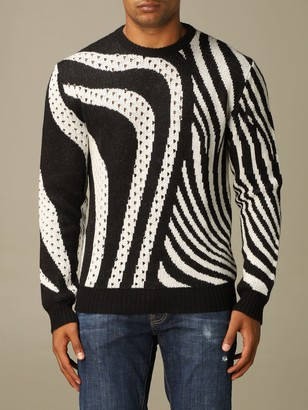 Just Cavalli Sweater Pullover With Optical Animal Print