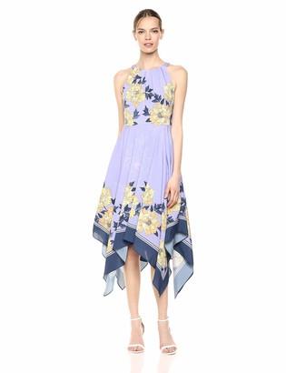 Adrianna Papell Women's Floral Halter Dress with Asymmetrical Skirt