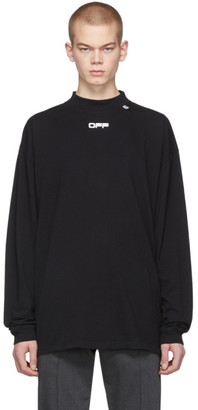 Off-White Black Wavy Line Long Sleeve Logo T-Shirt