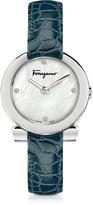 Salvatore Ferragamo Gancino Stainless Steel and Diamonds Women's Watch w/Blue Croco Embossed Strap