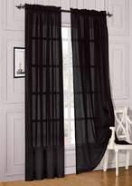 "Elegant Comfort 2 Piece Solid Sheer 60"" x 84"" Window Curtains/drape/panels/treatment, Black"