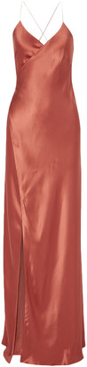 Mason by Michelle Mason Open-back Silk-satin Wrap Gown